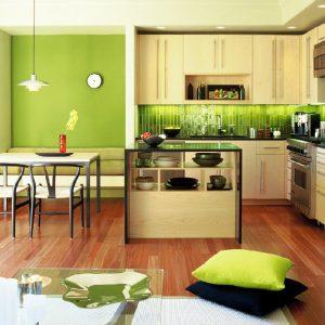 фото салатовой кухни