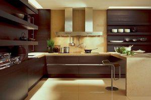 фото коричневой кухни