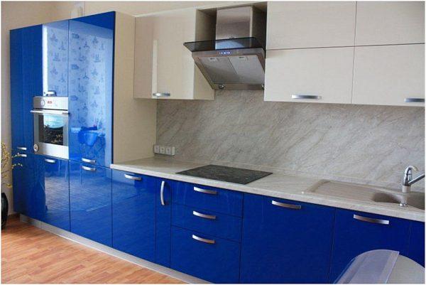 Фото синей кухни эмаль