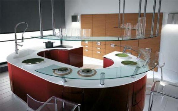 фото овальной кухни