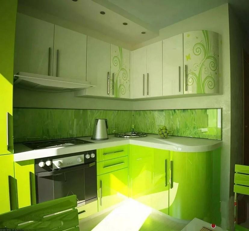 кухня в салатовом цвете дизайн фото