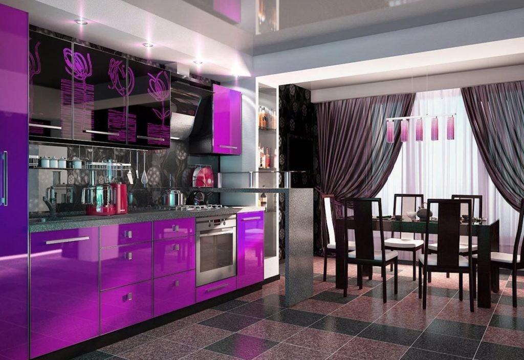 московского красивая фиолетовая кухня фото горами садик расстается
