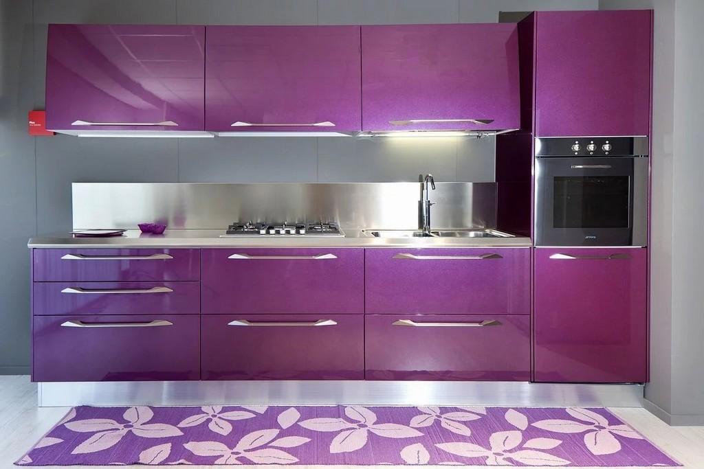 Красивая фиолетовая кухня фото